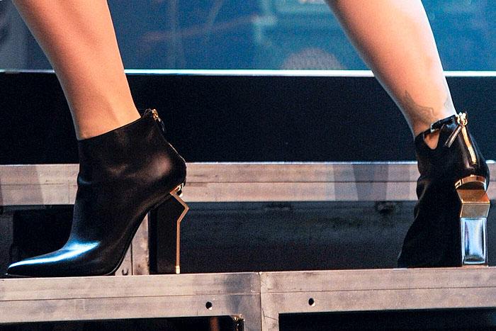 Rita Ora's gold-heeledGianmarco Lorenzi booties