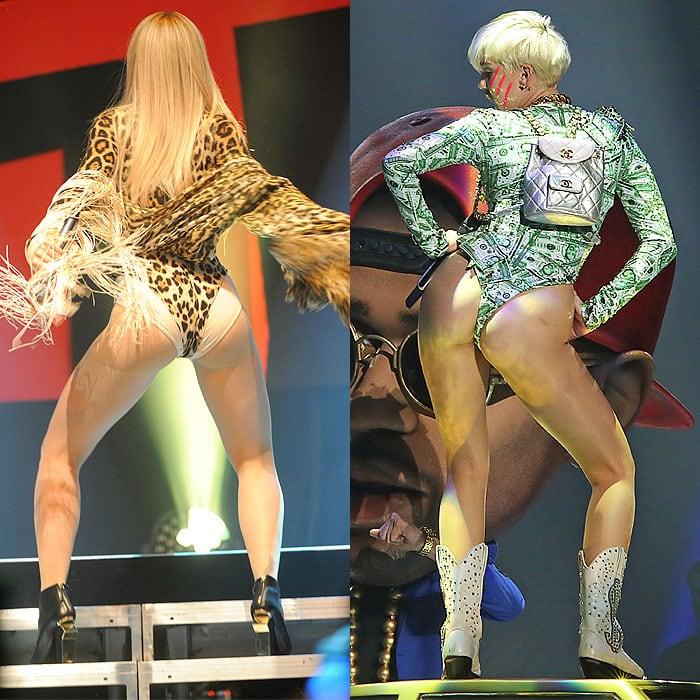 Rita Ora vs. Miley Cyrus in leotard outfits