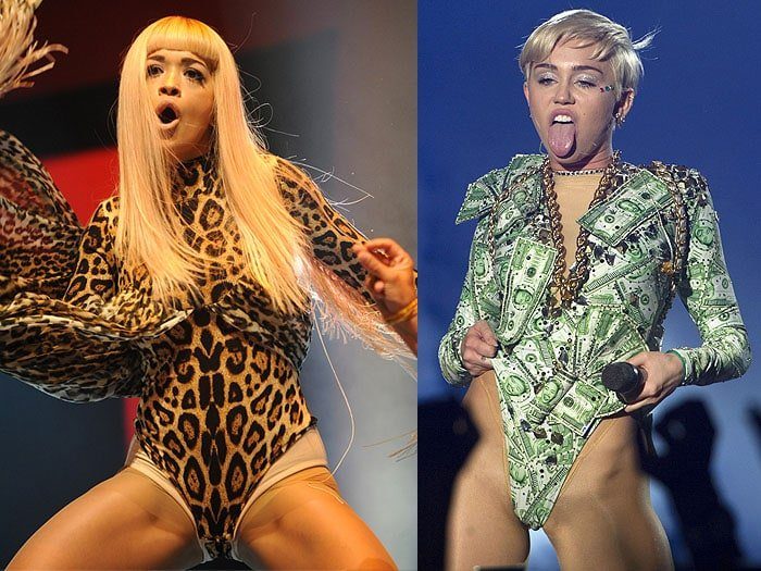 Miley Cyrus had her tongue out, Rita Ora forgot to copy