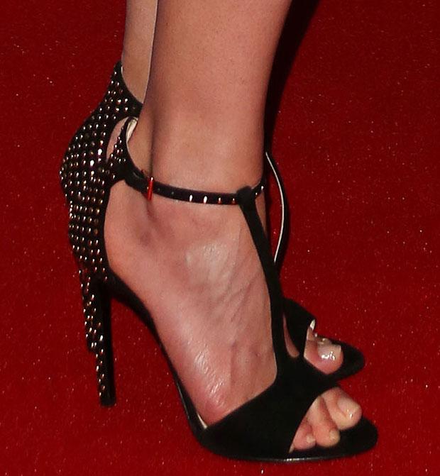 Rosamund Pike's toes in Prada sandals