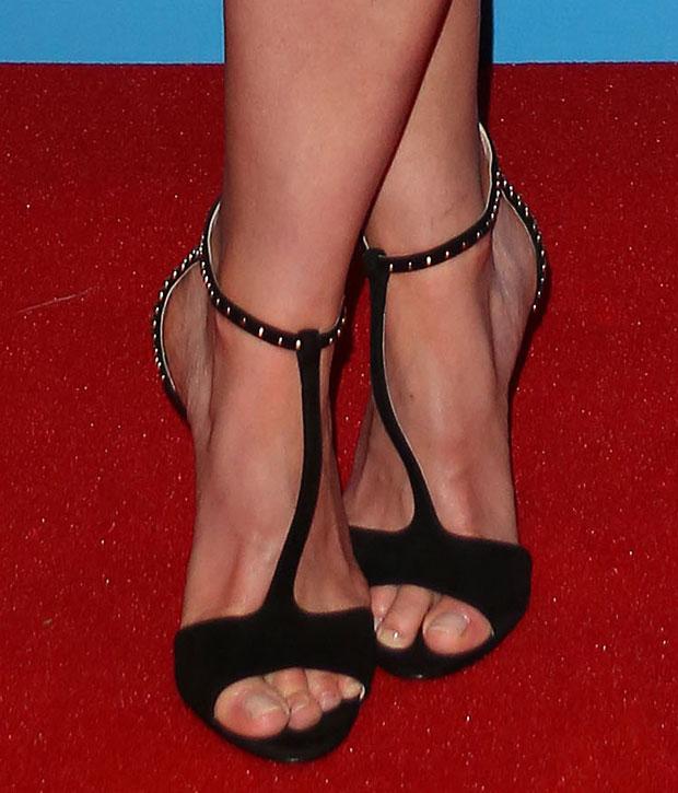 Rosamund Pike's feet in Prada sandals