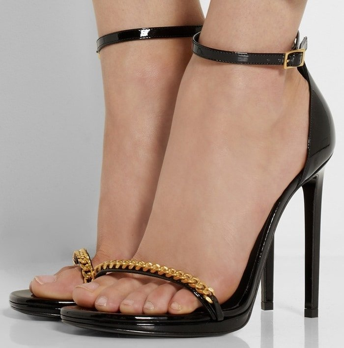 Saint Laurent Black Jane Chain-embellished patent-leather sandals