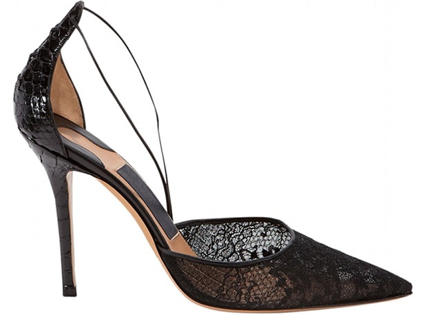 Salvatore Ferragamo Black Lace Pumps