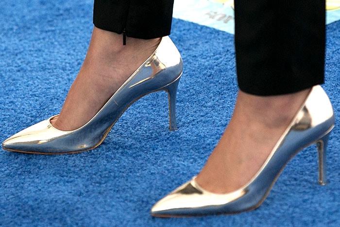 Silver Miu Miu glitter-sole pumps on Selena Gomez
