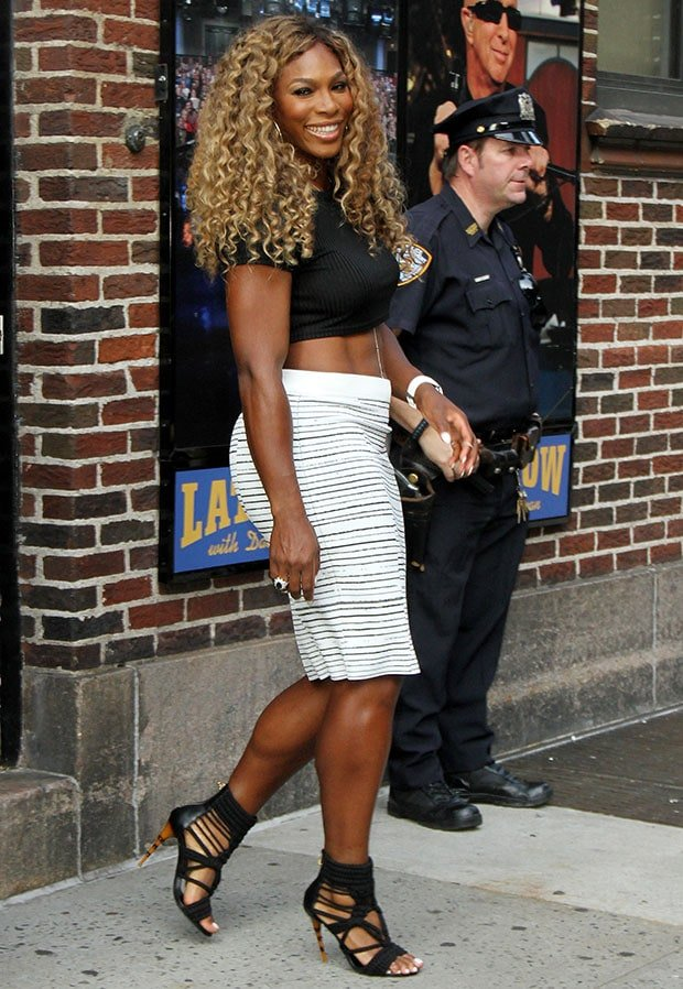 Serena Williams outside the Ed Sullivan Theater for an appearance on Late Show with David Letterman on August 20, 2014