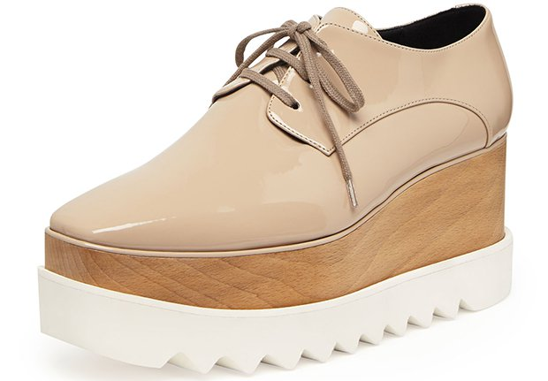 Stella McCartney Faux-Patent Platform Oxfords in Nude