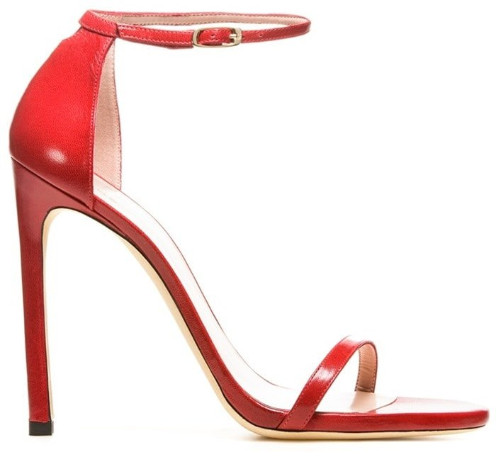 Stuart Weitzman Red Nudist Single Band Sandals