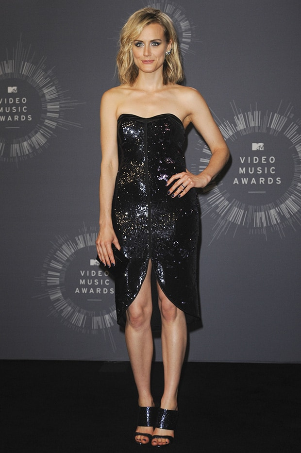 Taylor Schilling in a Halston Heritage sequined and strapless frock featuring a sweetheart neckline and a curved hemline