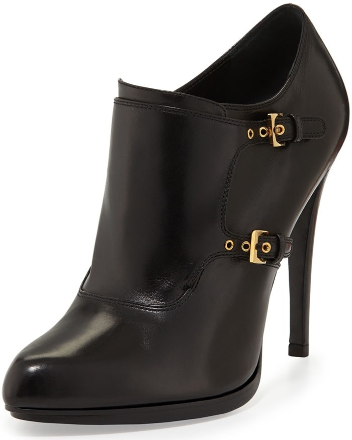 Tom Ford Black Doublemonk Ankle Bootie