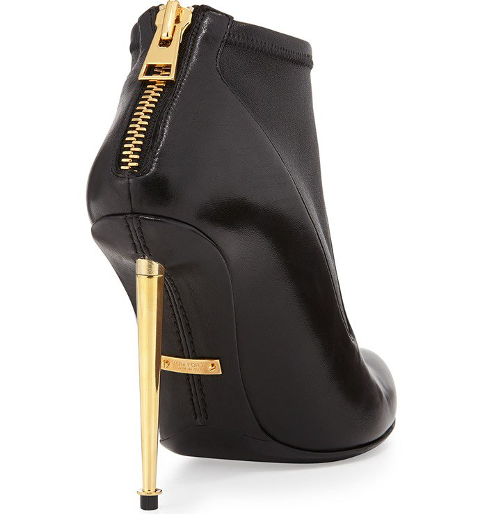 Tom Ford Black Womens Leather Stretch Zipback Booties