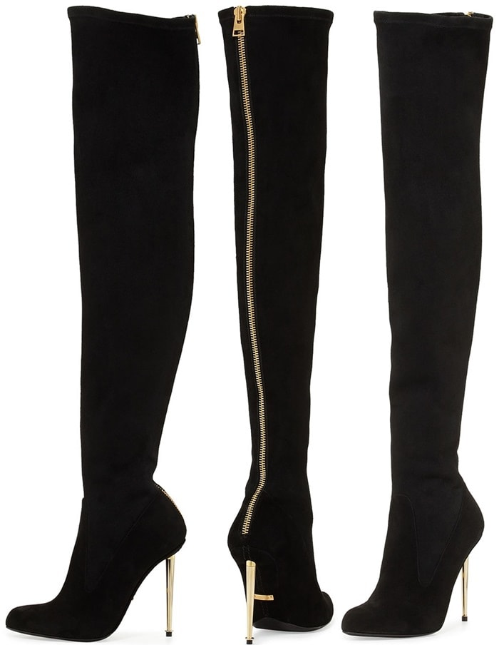 Tom Ford Black Zipback Over the knee Boot