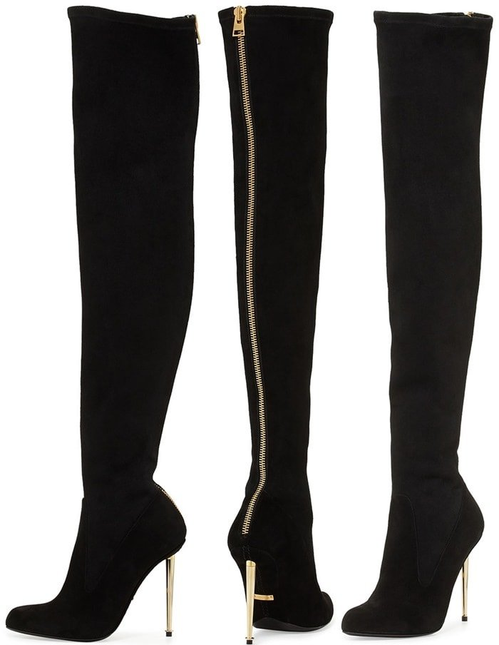 Tom Ford Nappa-Stretch-Leather Metal-Stiletto Over-the-Knee Boots