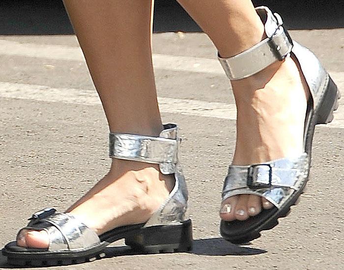 Vanessa Hudgens' silver lug-sole ankle-strap sandals