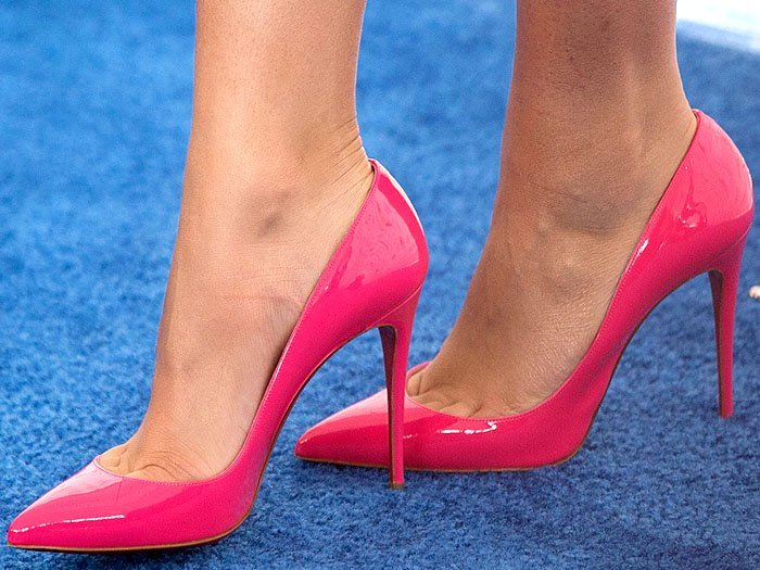 Pink patent Christian Louboutin 'So Kate' pumps on Zendaya