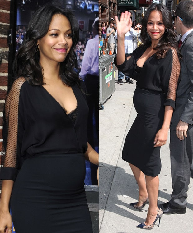 Zoe Saldana visiting the Late Show with David Letterman at the Ed Sullivan Theater in New York City on July 30, 2014