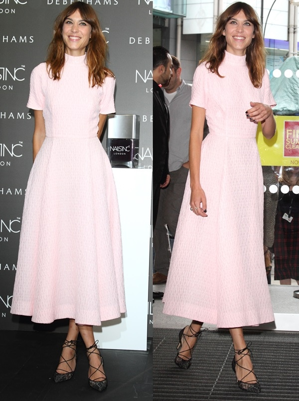 Alexa Chung at the launch of her nail polish line, Alexa Manicure, at Debenham's in London, England, on August 14, 2014