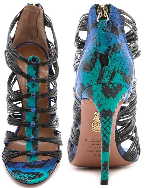 "Aquazzura ""Xena"" Snakeskin Strappy Sandals"