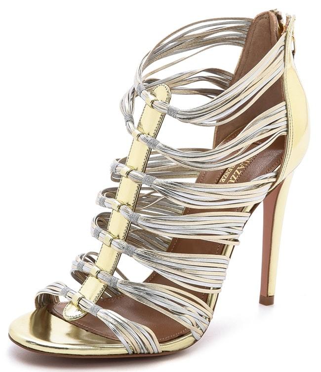 "Aquazzura ""Xena"" Metallic Strappy Sandals"