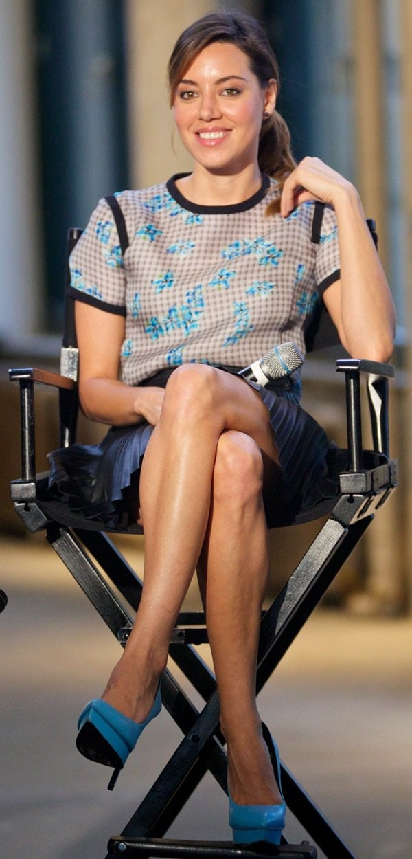 Aubrey Plaza discussing her latest film, 'Life After Beth', on AOL's BUILD speaker series at the AOL headquarters in New York City on July 30, 2014