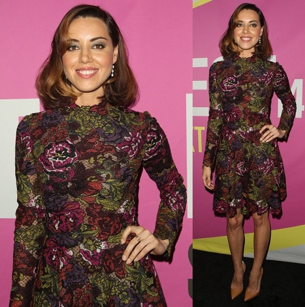 Aubrey Plaza styled her ombre bob into delicate waves and sported her signature smoky eye makeup