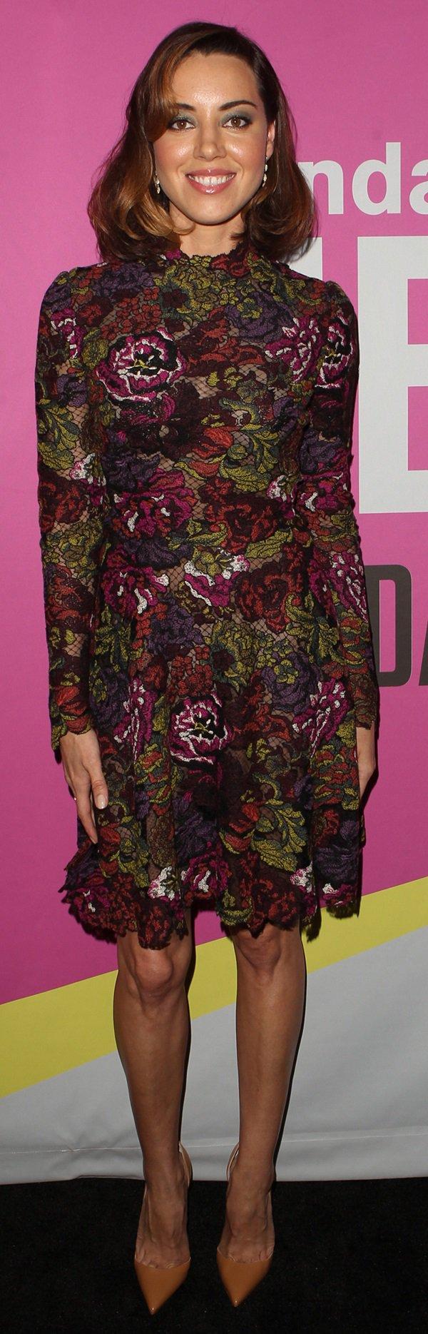 "Aubrey Plaza wearing a floral lace Valentino dress and tan Christian Louboutin ""Iriza"" pumps"