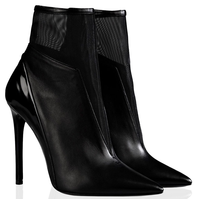 Barbara Bui Mesh-and-Leather Pointy Ankle Boots