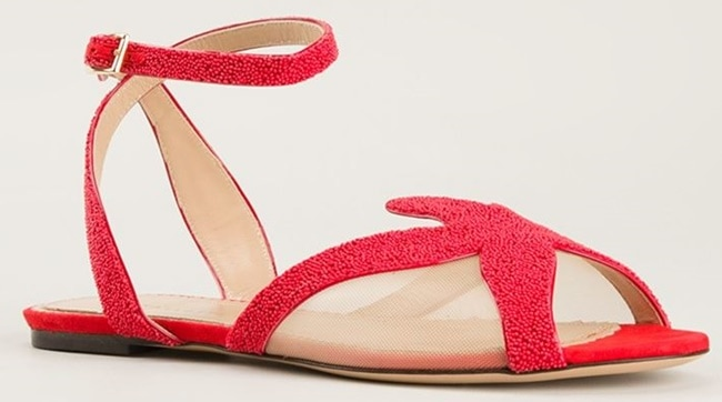 """Charlotte Olympia """"Sandy"""" Beaded Sandals"""