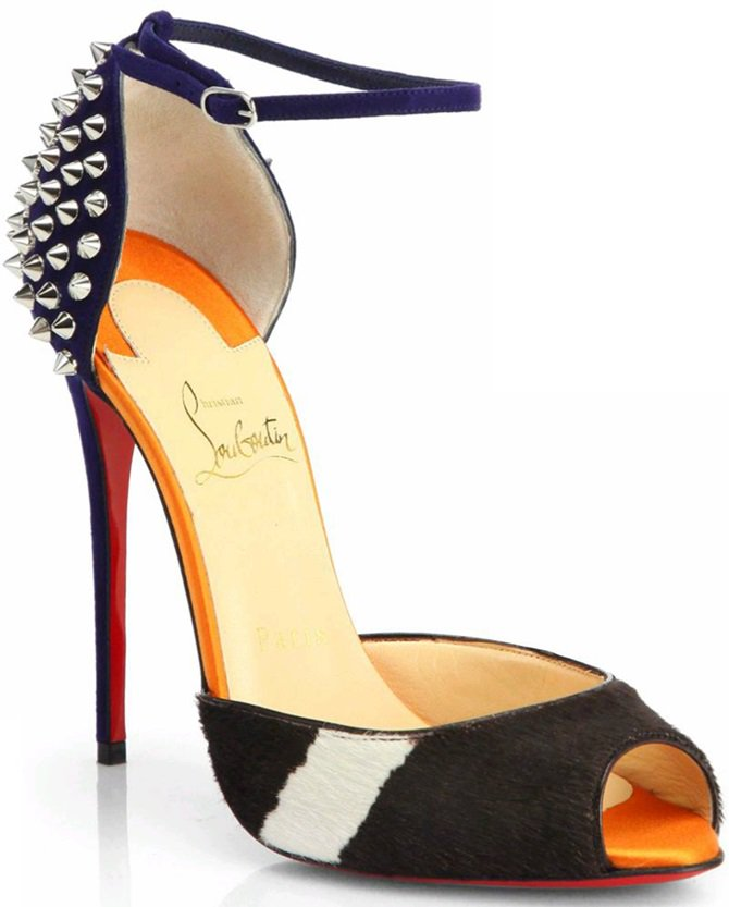 """Christian Louboutin """"Pina Spike"""" Calf-Hair & Suede Open-Toe Sandals in Multicolor"""