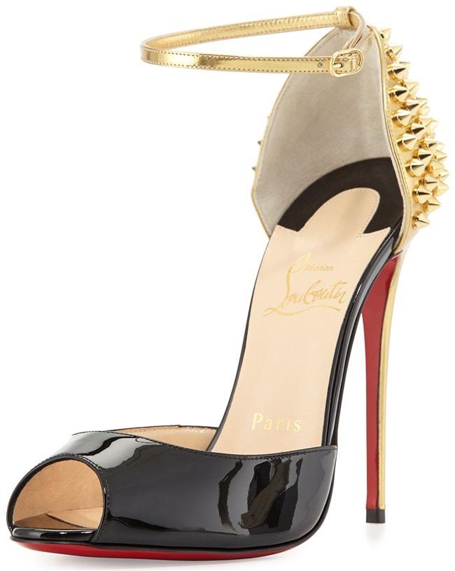 "Christian Louboutin ""Pina Spike"" Patent & Metallic Open-Toe Sandals in Black/Gold"