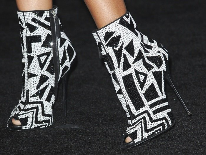 Nicki Minaj wearing stunning black-and-white geometric Giuseppe Zanotti booties