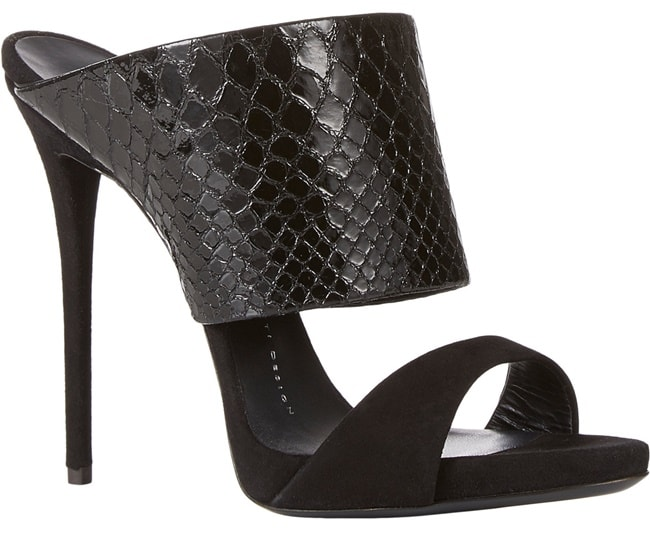 Giuseppe Zanotti Snake-Stamped Slip-On Sandals