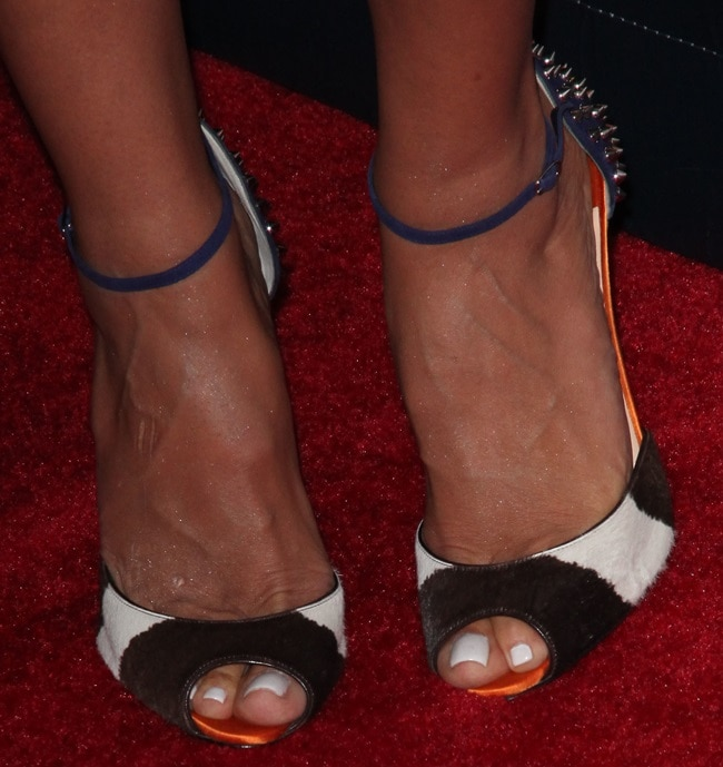 Heidi Klum in colorblock ankle-strap sandals from Christian Louboutin