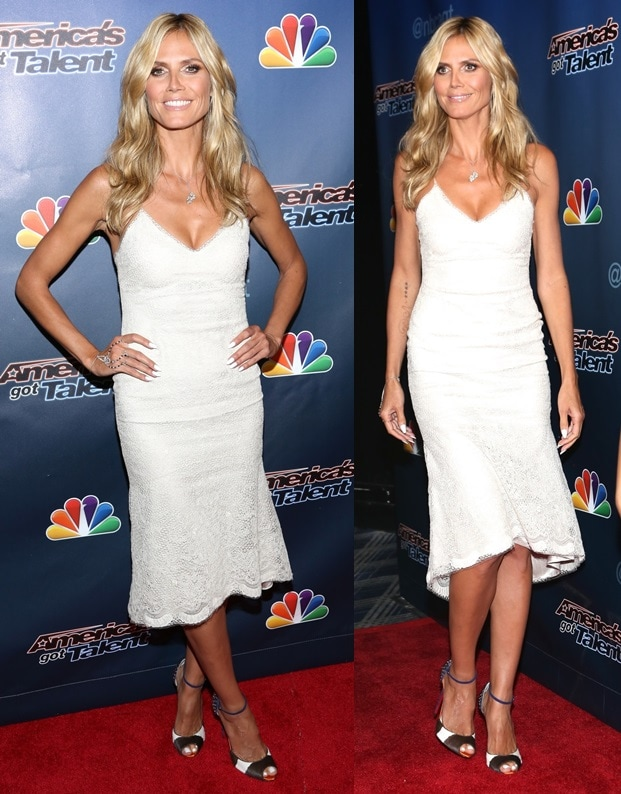 Heidi Klum was looking white hot as she stepped on the red carpet for the AGT post-show