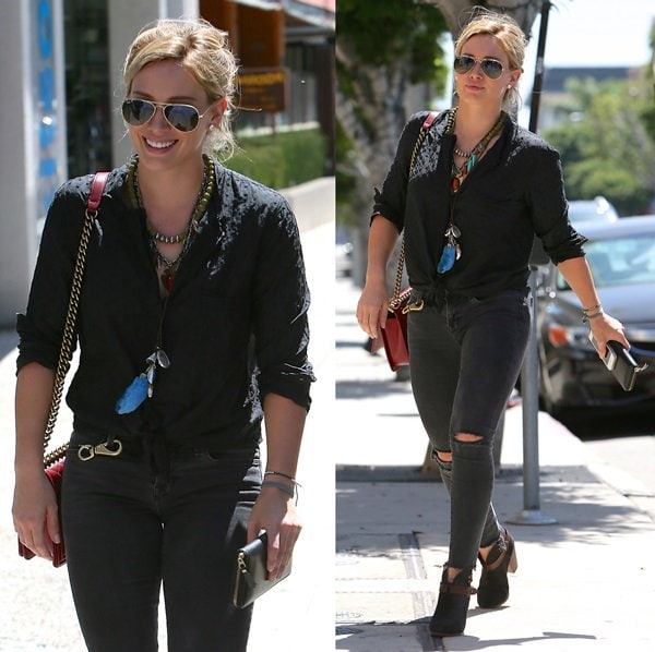 "Hilary Duff was seen shopping in West Hollywood wearing all-black with her favorite Rag & Bone ""Harrow"" boots"