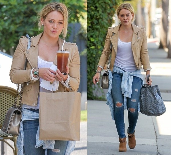 "Hilary Duff in a tan leather jacket, a plaid chambray ""Liam"" shirt by Rails, and ripped skinny jeans by Rag & Bone"