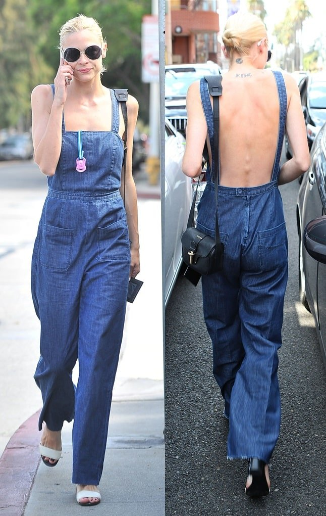 Jaime King wore nothing underneath her overalls