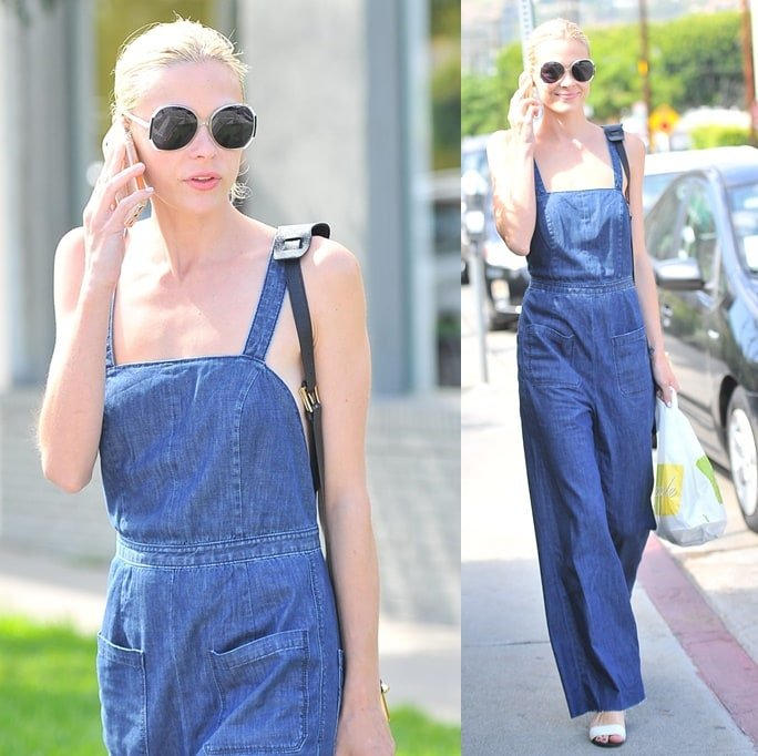 Jaime King decked in a pair of overalls with no shirt or top underneath while running errands in West Hollywood on August 19, 2014