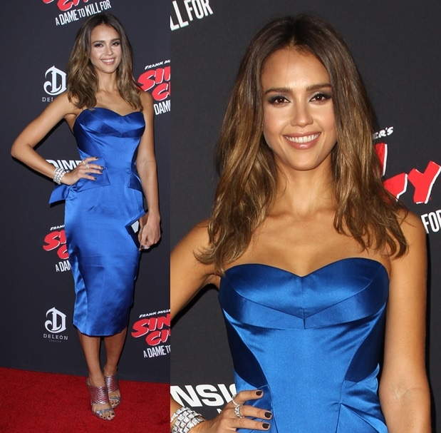 Jessica Alba in a cobalt blue dress at the screening of her new movie, 'Sin City: A Dame to Kill For', in Los Angeles on August 19, 2014