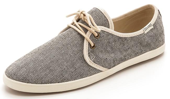 Soludos Woven Sand Sneakers in Black Herringbone
