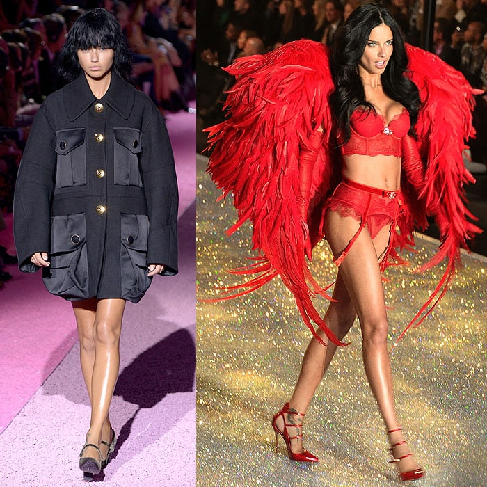 Adriana Lima walking the Marc Jacobs spring 2015 fashion show held during Mercedes-Benz Fashion Week in NYC on September 11, 2014; At the 2013 Victoria's Secret Fashion Show at the Lexington Armory in New York on November 14, 2013