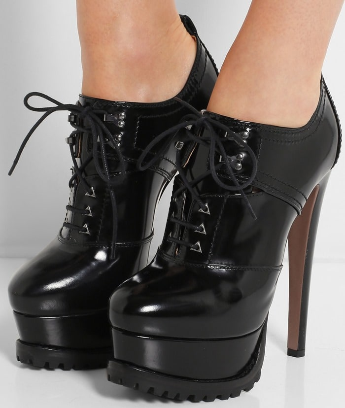 Alaia Lace-up patent-leather ankle boots