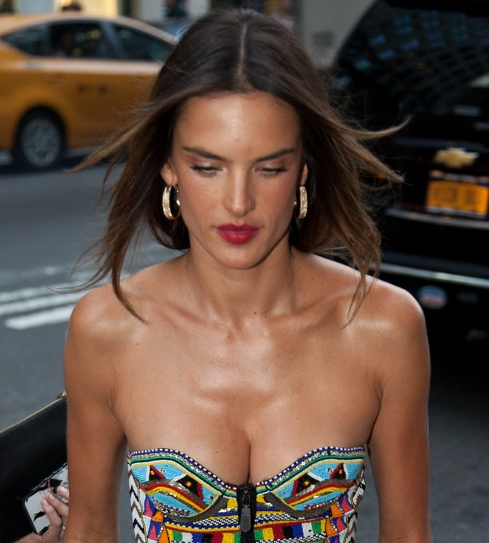Alessandra Ambrosio in a multicolored beaded bustier dress by Emilio Pucci