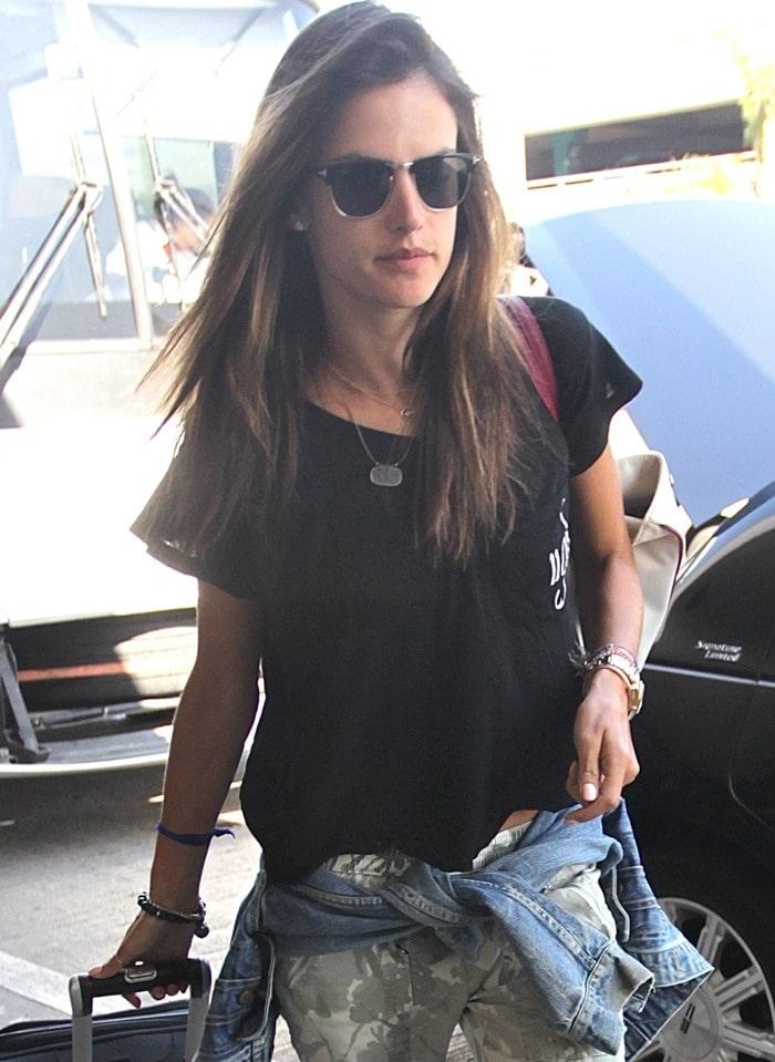 "Alessandra Ambrosio wears a Wildfox Couture ""Ugh Romeo"" Eccentricity tee"