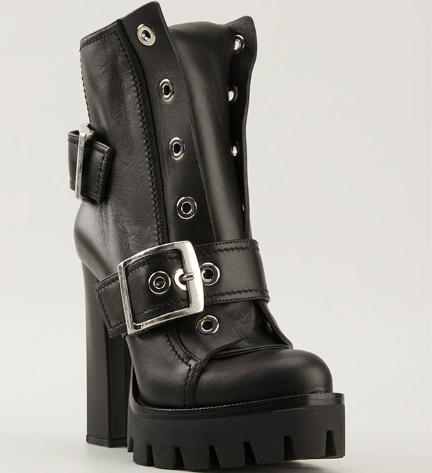 Alexander McQueen Chunky High Heel Biker Boots