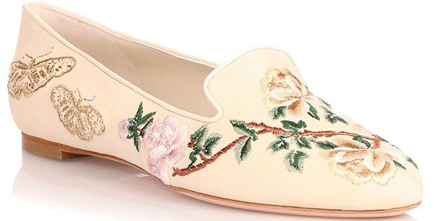 Alexander McQueen Floral-Embroidered Cream Suede Flats