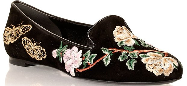Alexander McQueen Floral-Embroidered Black Suede Flats