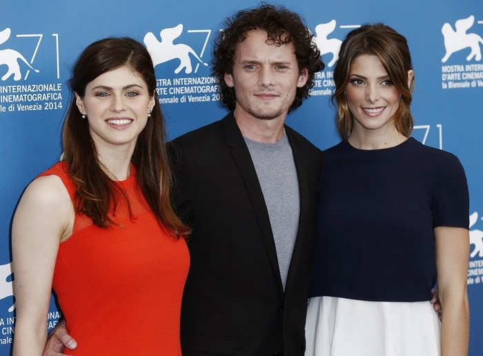 Alexandra Daddario, Ashley Greene, and Anton Yelchin at the photo call for 'Burying the Ex'