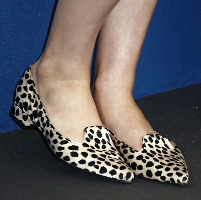 Alexandra's still unidentified animal-print loafers look like a great choice for dressier events