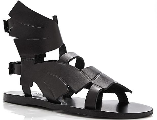 These handcrafted black winged leather sandals from Ancient Greek Sandals pair a clean and minimalist construction with a Grecian aesthetic for an intriguingly divine look