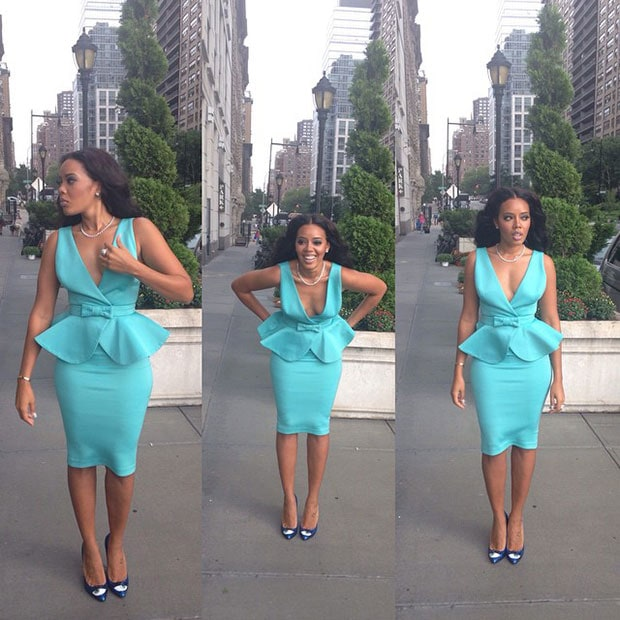 Angela Simmons wearing a Clan Diaries dress while arriving forthe Art Hearts fashion show
